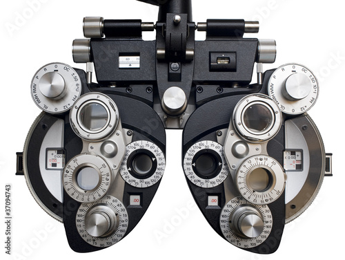 Leinwanddruck Bild Optometrist diopter. White background.