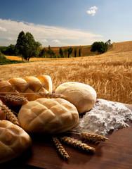 still life con pane e spighe di grano