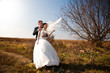 married couple hugging in field near lonely tree