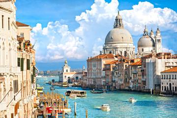Wenecji, widok na kanał Grande i Bazyliki santa Maria della sa