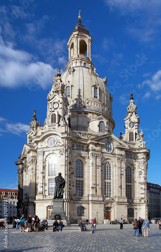 Frauenkirche and Monument to Martin Luther in Dresden