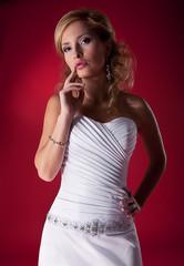 Bride lovely blond girl in bridal dress