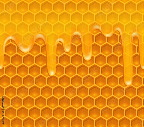 Seamless background with honeycomb and melting honey