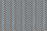 Brown and blue chevron patterned backgrund poster