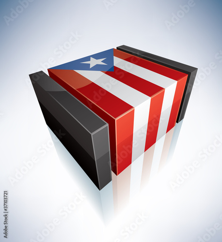 3D flag of Commonwealth of Puerto Rico