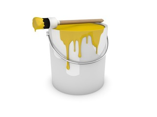 Farbeimer, Farbtopf mit Pinsel gelb