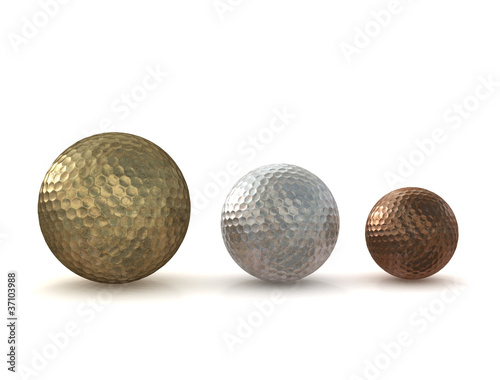 Golf balls gold silver bronze