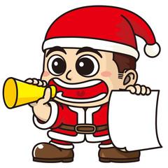 サンタクロースの衣装で呼び込みする販売員