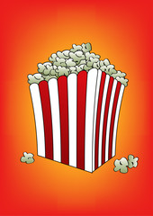 pop corn orange vector illustration
