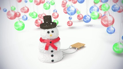 snowman on baclground sphereToys