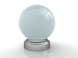 3d render of a crystal ball over white poster