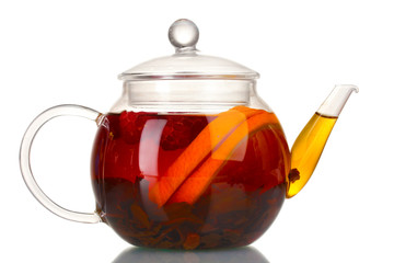 Glass teapot with black tea and orange isolated on white