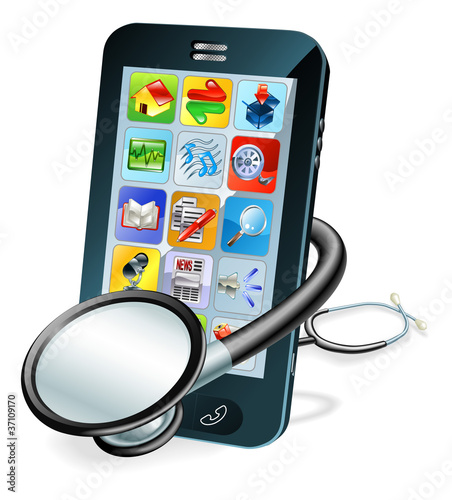 Cell phone health check concept
