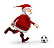 Santa playing soccer