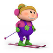 little girl skiing