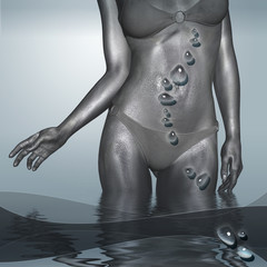Silver female body on the deep blue background