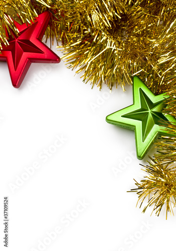 Golden garland decorated with star ornaments.