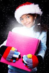 Girl in Christmas hat