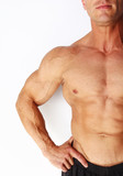 Closeup of males muscular chest and arm poster