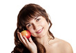 Brunette girl with apple