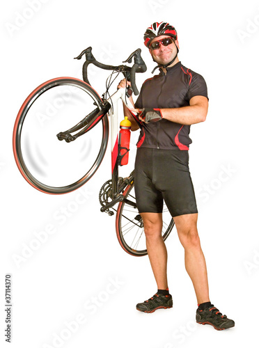 Man holding bicycle