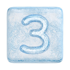 Ice cubes Font. Number 3