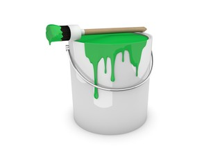 Farbeimer, Farbtopf mit Pinsel grün