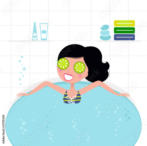 Cute retro woman relaxing in whirlpool foam bath..
