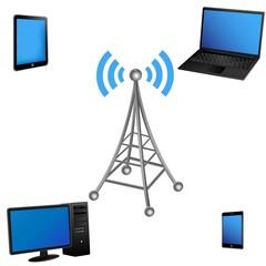 ベクター、電波塔と通信する電子機器