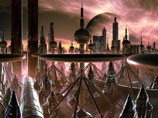 Futuristic Metropolis on Distant World