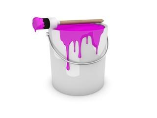 Farbeimer, Farbtopf mit Pinsel magenta / pink