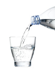 pouring mineral water in a water glass