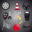 Set of automobile objects,vector