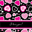 Vector valentines card on seamless hearts background