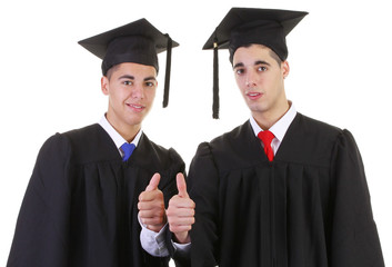 Two graduates thumbs up