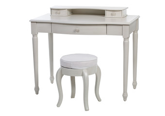 Elegant white dressing table and stool, with clipping path
