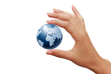 earth globe in woman hands isolated