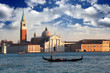 Venice, Gondola against church in  Italy