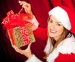 Female Santa with gifts