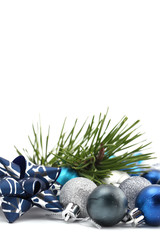 Blue and silver Christmas ornaments