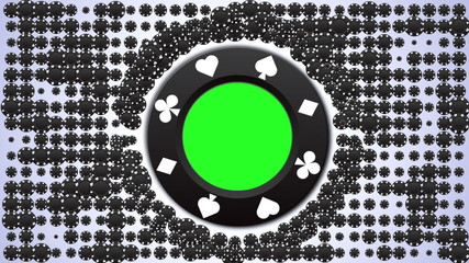 Poker Chips in Green Screen, with Alpha Channel - HD1080