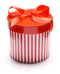 Image of striped giftbox isolated on white background