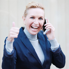 Geschäftsfrau freut sich