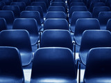 empty blue chairs