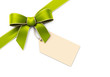 Green silk corner ribbon with golden edges and tag