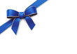 Blue silk corner ribbon with golden edges