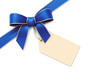 Blue silk corner ribbon with golden edges and tag
