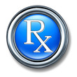 Prescription rx blue buton