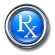 Prescription rx blue buton