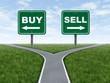 Buy and sell decision dilemma crossroads